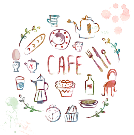handdrawn: Cafe design elements - watercolor style