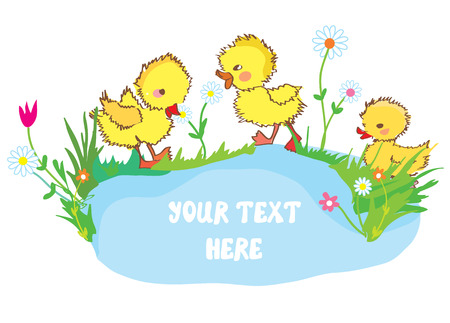 animal farm duck: Banner with ducks, pond and flowers - for kindergarten or card