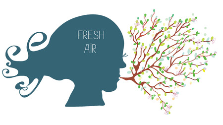 breathe: Breathing with fresh air concept - head silhouette and tree Illustration