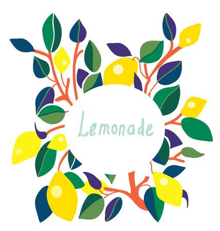 Lemonade label - bright design with frame Vector