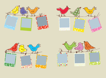 chequered ribbon: Funny photo frames with birds and patterns set