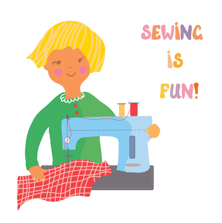 Sewing girl - cute illustration or greeting card Vector