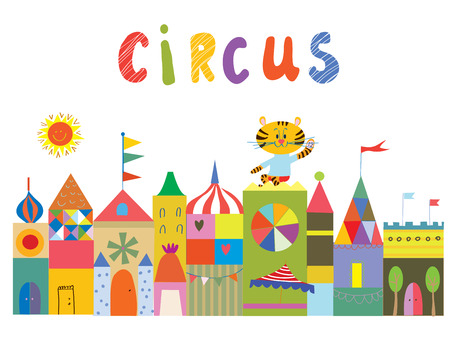 circus animal: Circus background with funny builidngs, animals and sun cartoon Illustration