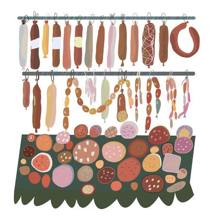veal sausage: Sausage sale - many sorts  on the shelves illustration