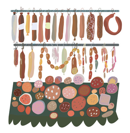 sorts: Sausage sale - many sorts  on the shelves illustration