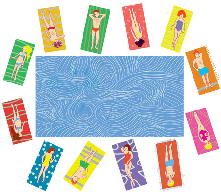 easy chair: People on the beach and sea banner cartoon