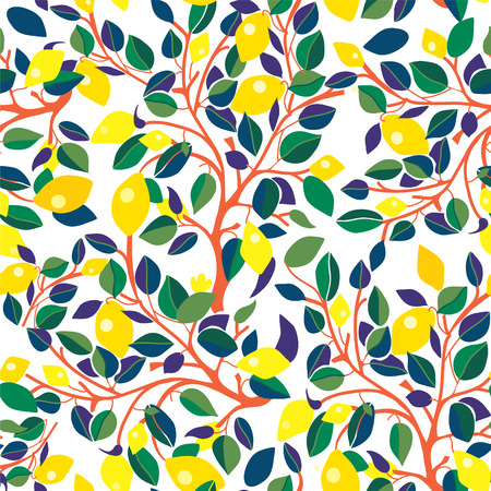 lemon tree: Lemons seamless pattern - design with leaves and branches