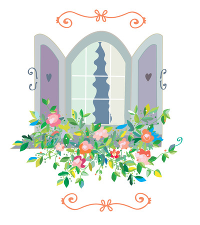 windowsill: Window with flowers card - retro design for sweet home Illustration