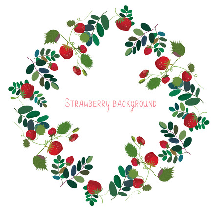 strawberry plant: Strawberry background with leaves - decorative frame