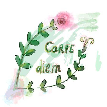 boarder: Carpe diem motovation floral print illustration Illustration