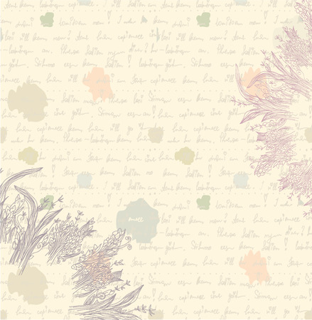 Old letter background - paper with floral elements