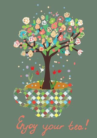 coffee tree: Funny card with tea cup and flowers on the tree illustration Illustration