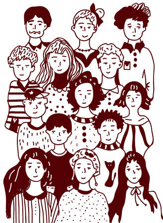 Group of people sketch - urban style illustration Vector