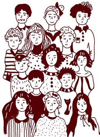 urban style: Group of people sketch - urban style illustration Illustration