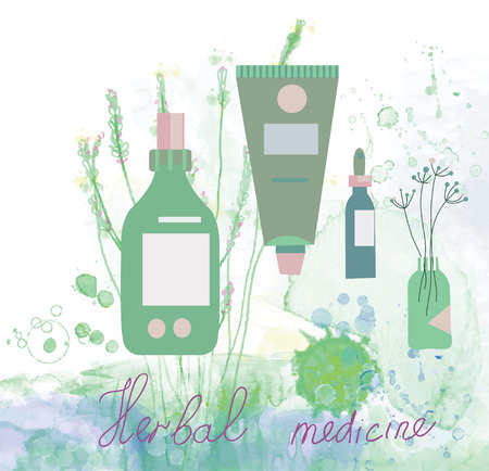 Herbal medicine illustration with bottles and floral background Vector