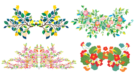 compositions: Floral compositions set for holidays and cards
