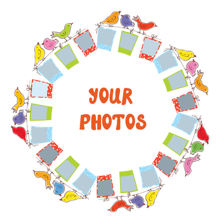 flores de cumpleaños: Composición de imagen de archivo - diseño divertido con las aves
