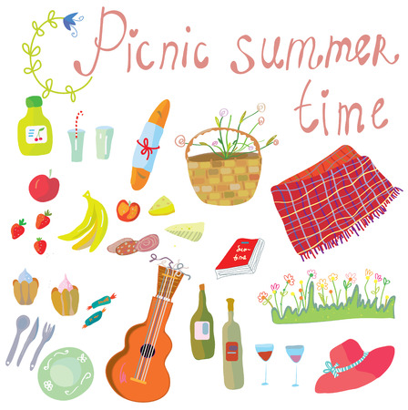 picnic park: Picnic objects for romantic summer date - cute illustration
