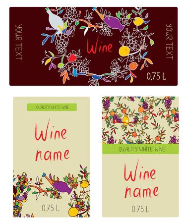 bouteille de vin: Les étiquettes de vin set - conception drôle avec des oranges