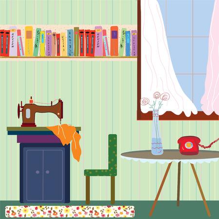 maquinas de coser: Interior de la sala retro con la m�quina de coser y el tel�fono - ilustraci�n Vectores