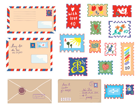 post: Letters and post stamps funny set - retro illustration Illustration