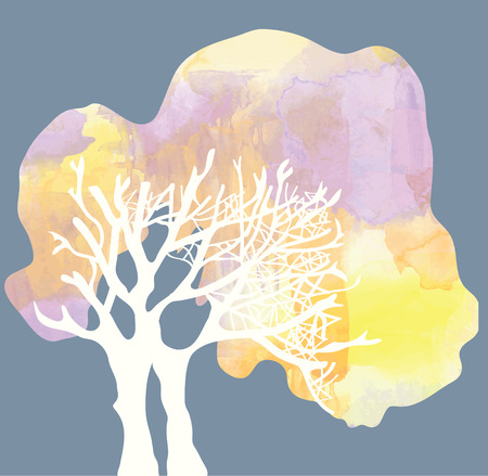 Tree with crone silhouette - watercolor style illustration Illustration
