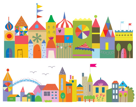 cute house: Houses funny banner - fairytale town set Illustration