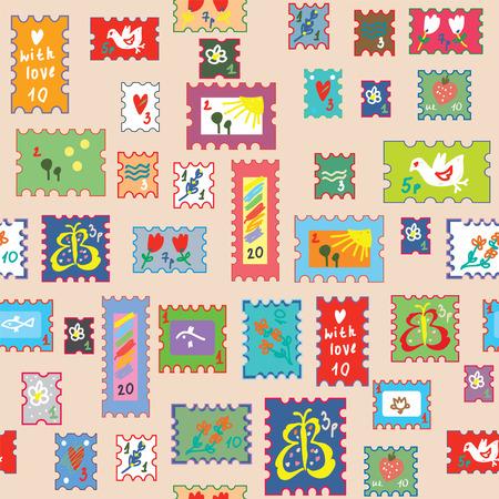 sello: Modelo inconsútil con los sellos de correos - Diseño brillante infantil divertida