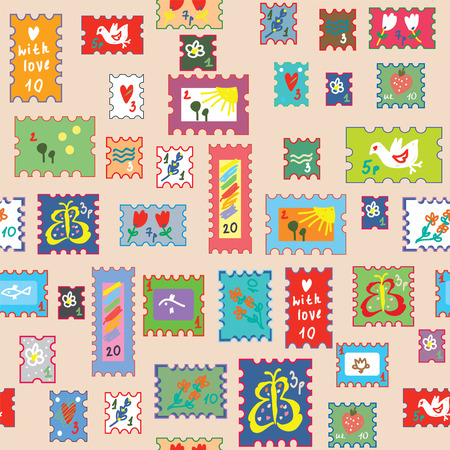 postage: Seamless pattern with post stamps - funny childish  bright design