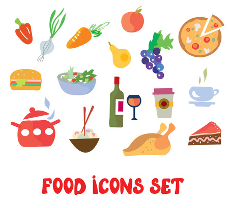 simple meal: Food icons set - simple and funny design Illustration
