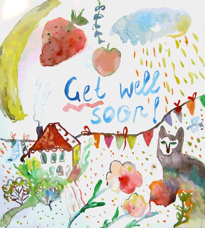 get well soon: Get well soon watercolor motivational card