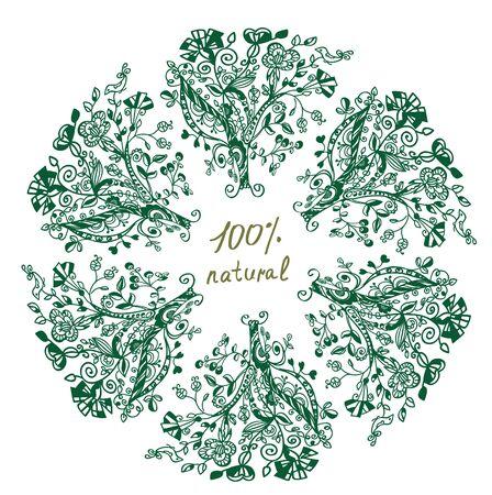 label frame: Eco label - floral grafic design for frame