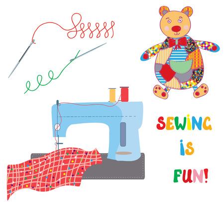 maquinas de coser: Conjunto de costura con el oso patchwork - tarjeta divertida de dise�o