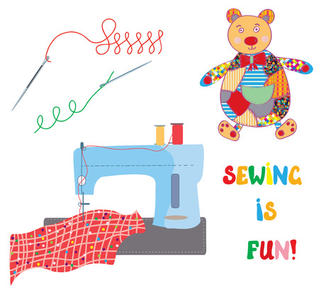 sewing machine: Sewing set with patchwork bear - funny design card