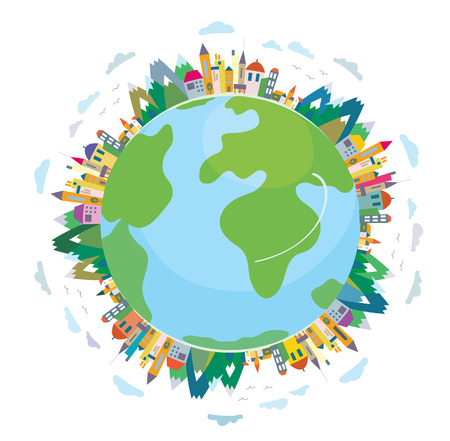 Global travel concept - cute flat design  イラスト・ベクター素材
