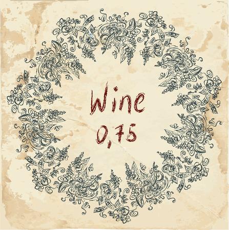 label frame: Wine label retro design with grapevine frame Illustration