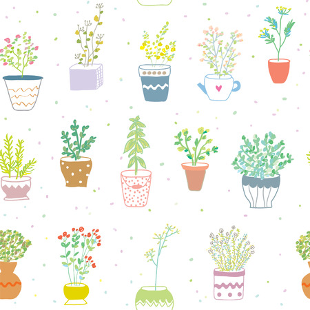 chive: Many herbs kitchen seamless pattern - nice hand drawn design
