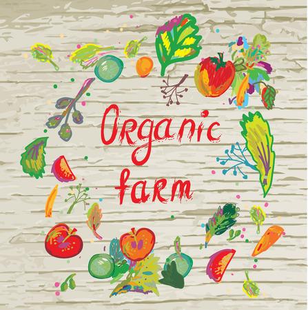 saludable logo: Banner de granja orgánica con el marco y la textura - diseño vectorial