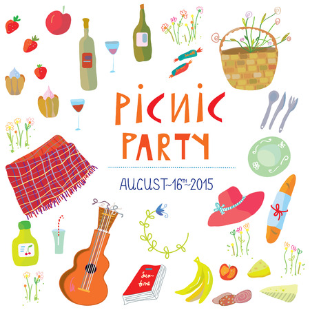 blanket: Picnic party banner with funny design - vector illustration