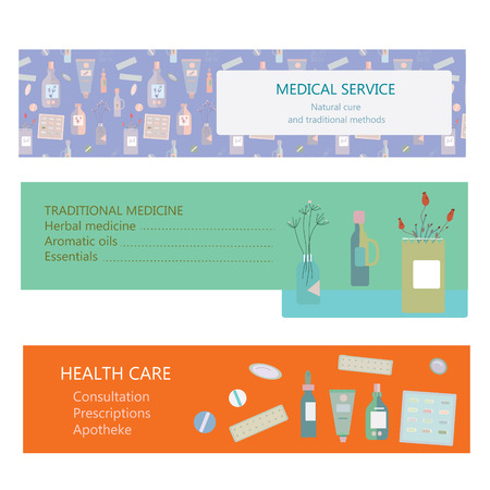 traditional medicine: Medical banners for herbal and traditional medicine - vector illustration Illustration