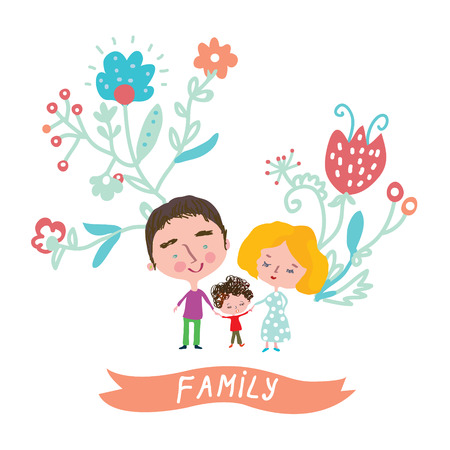 happy family: Family cute card with floral design - vector illustration