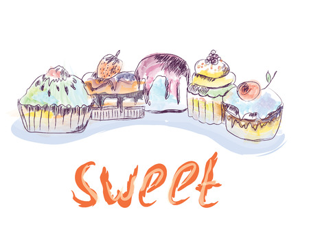 Cakes and cupcakes sketch - hand drawn illustration Иллюстрация