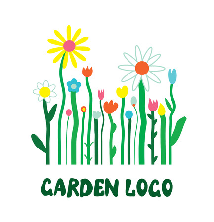 Garden icon with flowers - unusual simple design