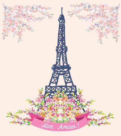 t background: Love in Paris nice card - vintage floral design for vector illustration