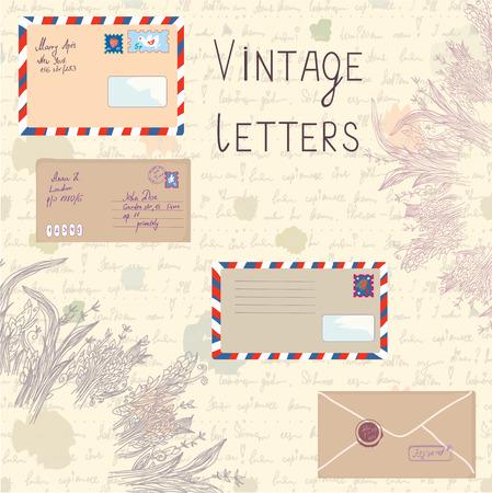adress: Vintage letters and paper set with floral elements - vector illustration Illustration