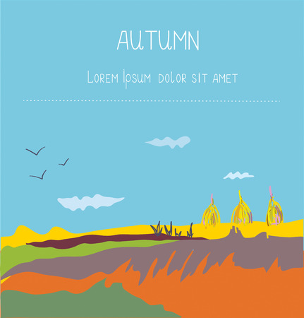 countryside: Autumn landscape countryside background - design for the card