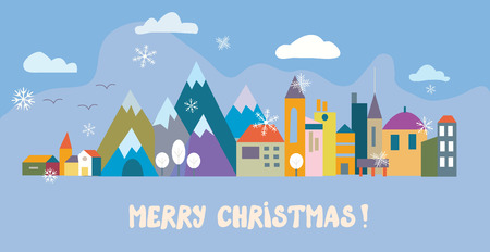 rows: Christmas greeting card with town and snow - vector illustration Illustration