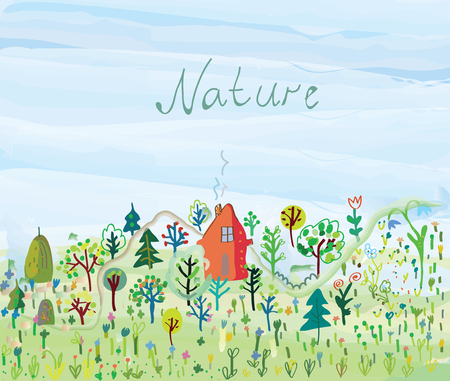 nature vector: Nature background with trees and grass for tourism - vector illustration