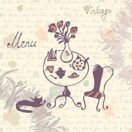 dining table: Vintage menu cover design with texture and sketch drawing - vector illustration