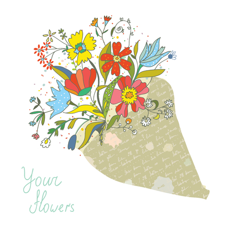 bunch of flowers: Bunch of flowers in the paper wrapping card - vector illustration